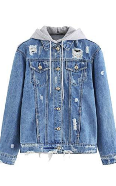 Floerns Hooded Jean Denim Jacket