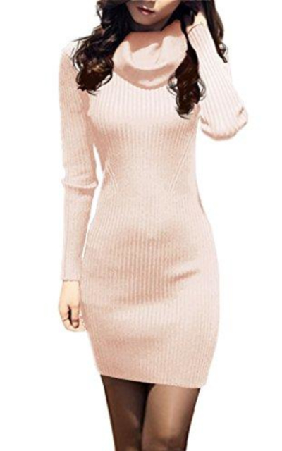 v28 Cowl Neck Knit Sweater Dress