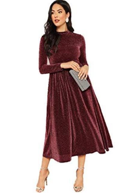 MAKEMECHIC Long Sleeve Glitter Dress