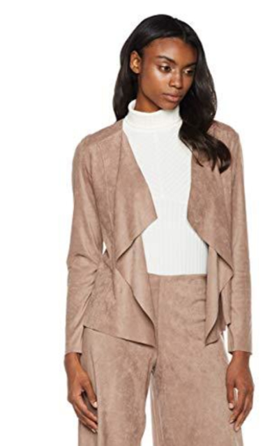 Painted Heart Open Front Lightweight Faux Suede Jacket