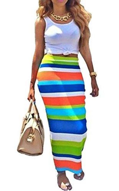 Leezeshaw Crop Top Midi Skirt Outfit Two Piece Bodycon Set