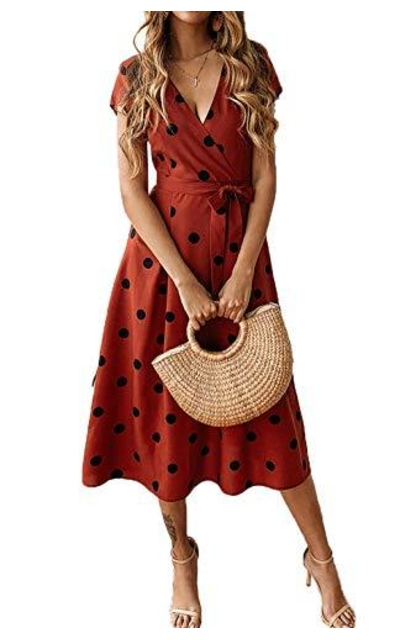 PRETTYGARDEN Polka Dot Midi Dress
