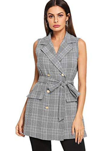 Verdusa Lapel Sleeveless  Plaid Blazer