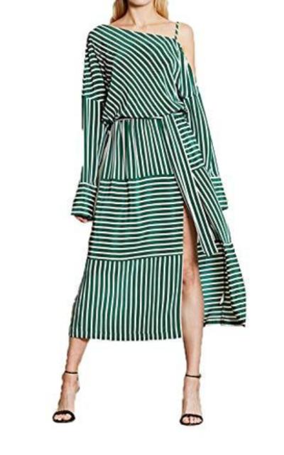 ASMAX HaoDuoYi One-Shoulder Stripe  Dress