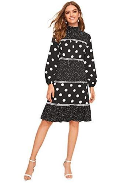 SheIn High Neck Polka Dot Frill Ruffle Dress