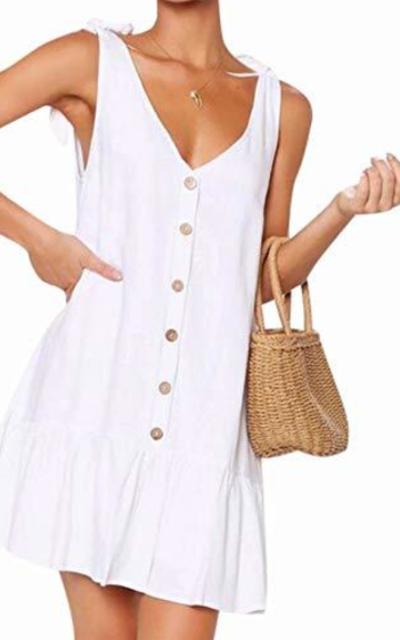 MAXIMGR Button Mini Dress