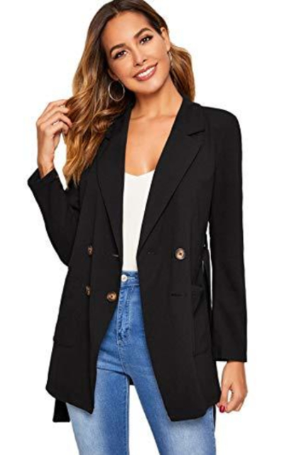 Verdusa Lapel Collar Double Breasted Belted Wrap Blazer