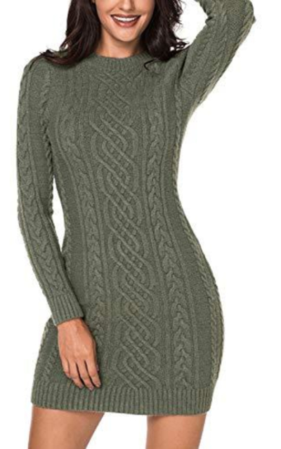 Sidefeel Cable Knit Bodycon Mini Sweater Dress