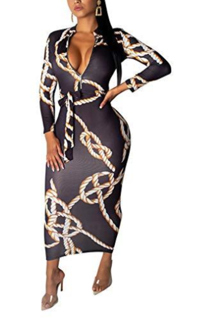 Haloladies Chain Print Bodycon Dress