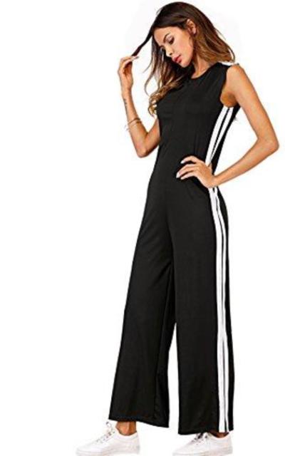 DIDK Striped Side Zip Back Jumpsuit