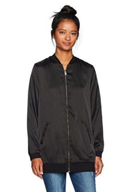 LIRA Clothing Speakeasy Reversible Satin Long Bomber Jacket