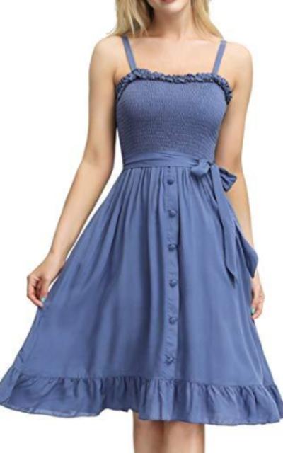 CURLBIUTY Belt Swing Midi Dress Blue