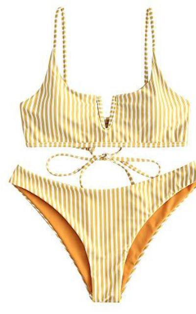 ZAFUL Striped Reversible Two Piece Bikini Set