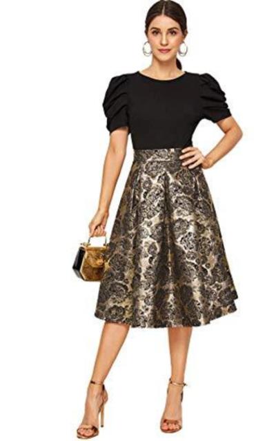 Verdusa Ruffle Puff Sleeve Bodice Jacquard Swing Dress