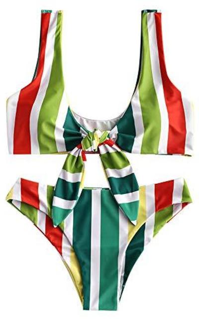 ZAFUL Tie Knot Front Stripe Print Stripe Swimsuit