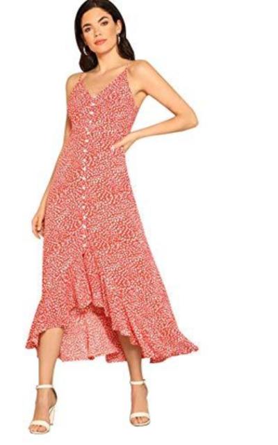 Floerns Button-up Print Dot Dress