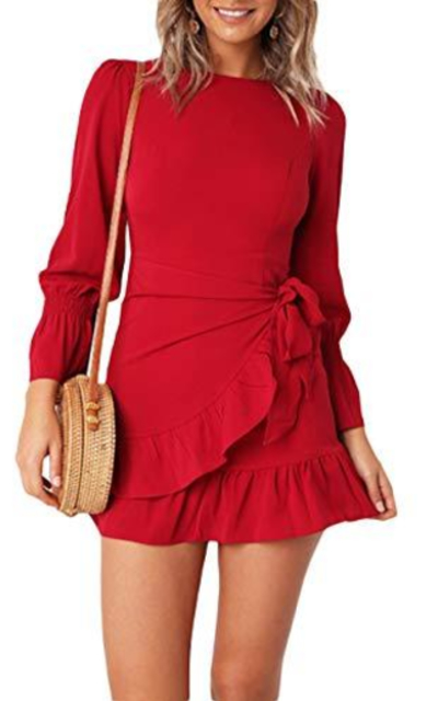 FOUR CLOUR Ruffle Cocktail Belted Mini Dress