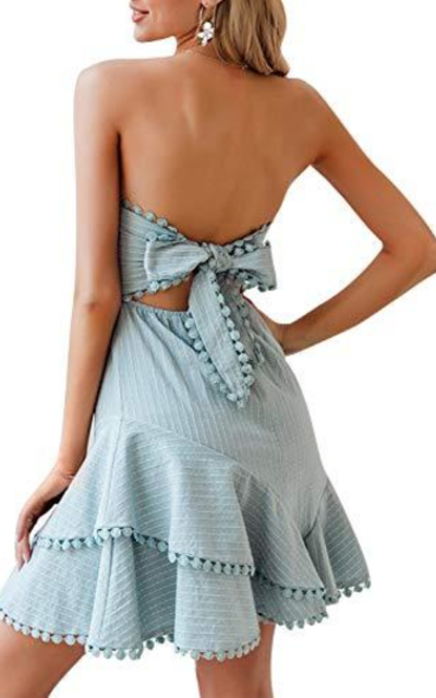 BerryGo Strapless Ruffle A-line Dress
