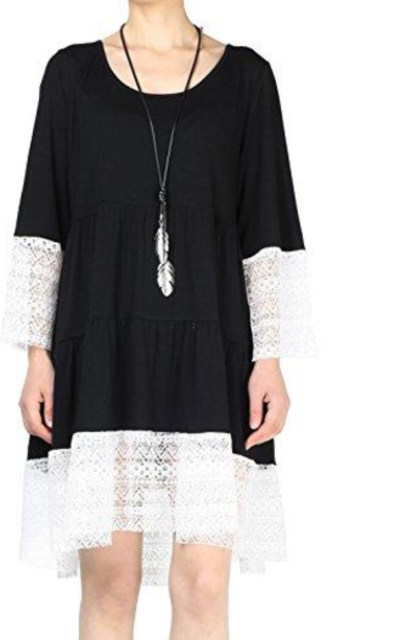Mordenmiss Lace Trim Boho Tunic