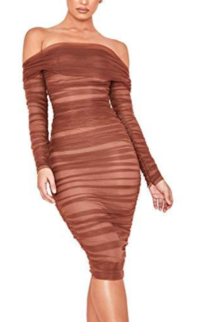 UONBOX  Chestnut Tulle Off Shoulder Bodycon Dress