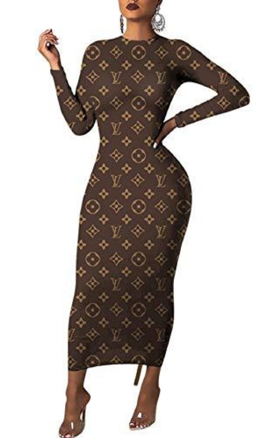 Bodycon Geometric Print Maxi Dress
