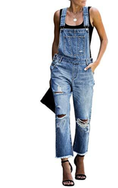 luvamia Casual Distressed Denim Bib Overalls