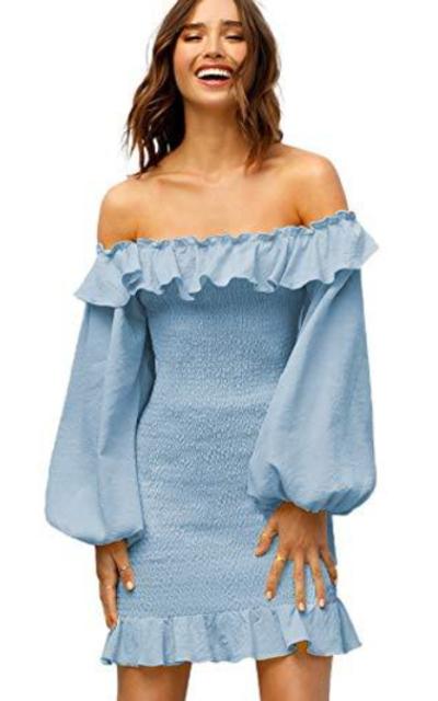SOLY HUX Off The Shoulder Shirred Bardot Dress