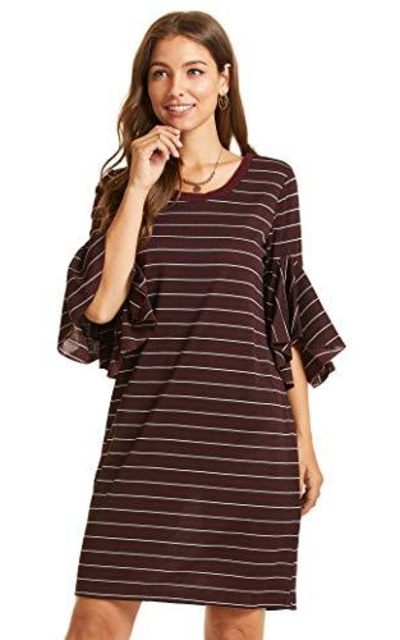 SONJA BETRO Stripe Knit Crew Neck Ruffle Dress