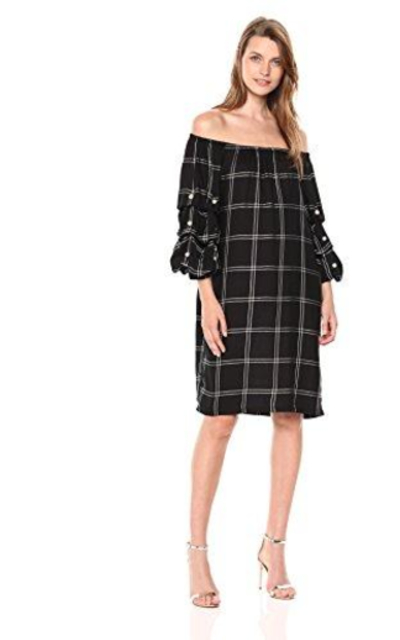 MSK Off The Shoulder Plaid Puff Sleeve Dress
