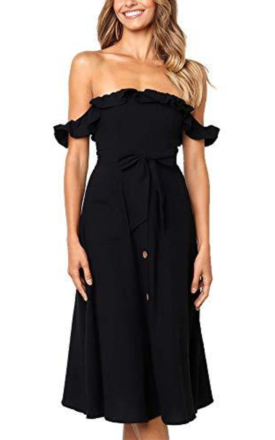 Exlura Ruffle Off Shoulder Maxi Dress