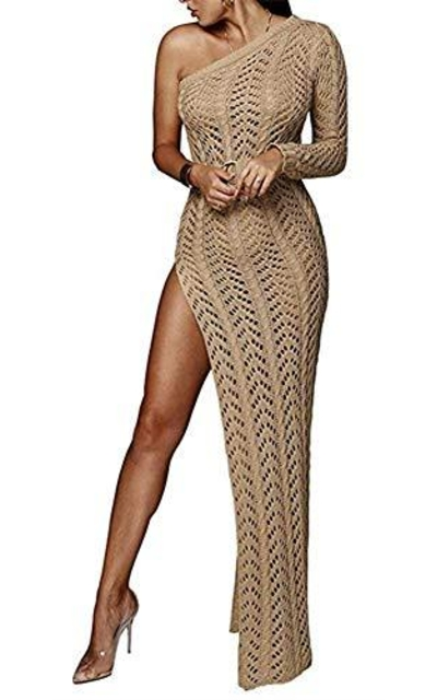 Speedle One Shoulder Crochet Dress
