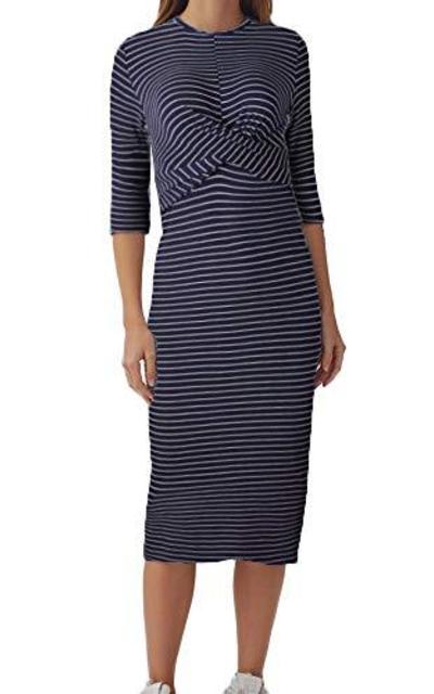 Joteisy 3/4 Sleeve Waist Knot Stripe Dress
