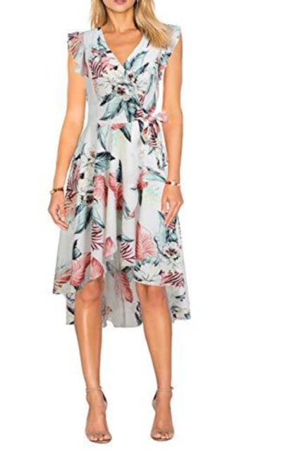 FORTRIC Flowy Casual Chiffon Belt Wrap Dress