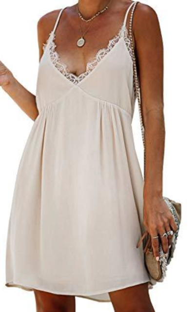 Happy Sailed  V Neck Sleeveless Lace Backless Flare Mini Dress