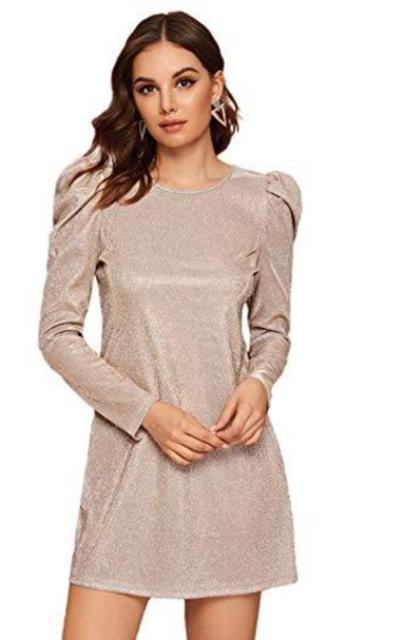 SOLY HUX Glitter Puff Sleeve Dress
