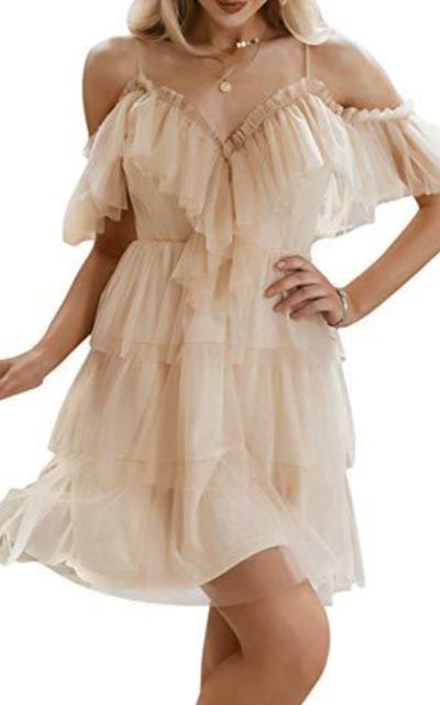 Simplee Dress Tulle Ruffle Mini Dress