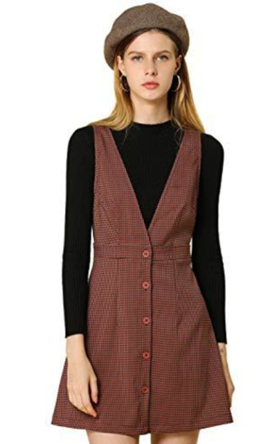 Allegra K Overalls Suspenders Check Houndstooth Button Front Pinafore Dress