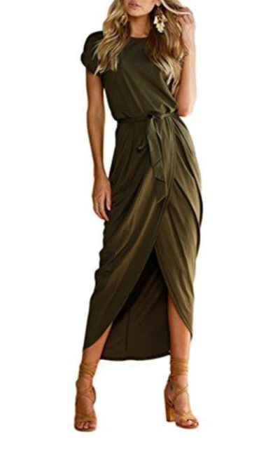 HIKARE Short Sleeve Maxi Dress with Belt