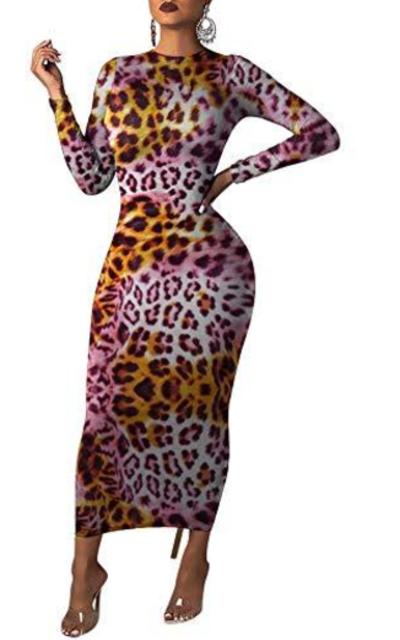 Ophestin Leopard Print Bodycon Slim Pencil Dress