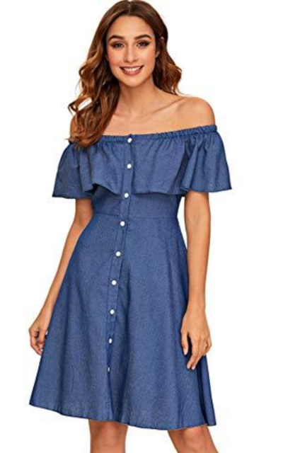 Milumia Off The Shoulder Denim Dress