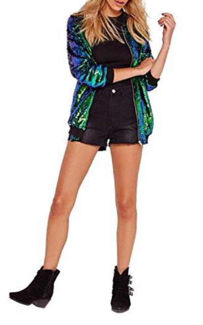 HaoDuoYi Sequin Bomber Jacket