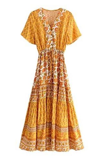 R.Vivimos Boho Midi A Line Dress