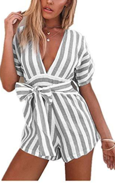 songshenjian Striped Sleeve Short Jumpsuit Rompers