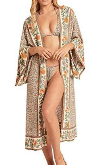 R.Vivimos Vintage Floral Print  Cardigan Kimono