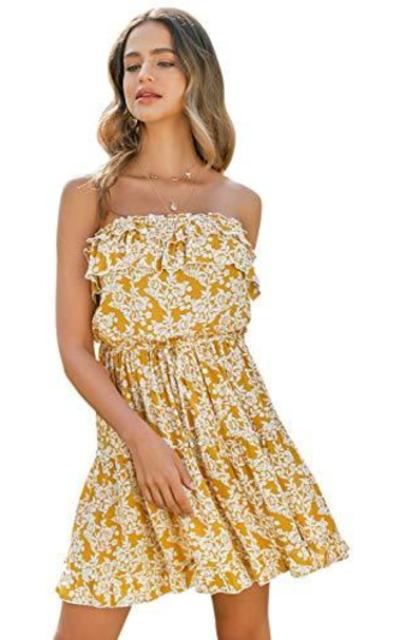 BerryGo Boho Floral Ruffle Dress