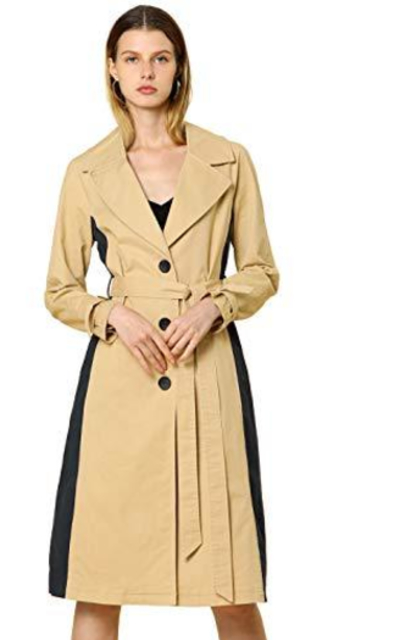 Allegra K Color Block Single Breasted Trench Coat