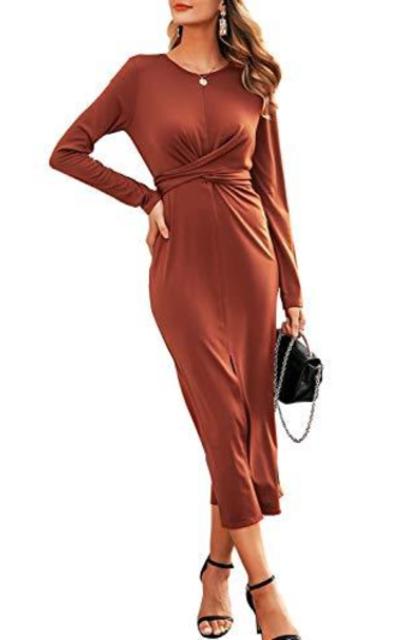 Miessial Tied Waist Bodycon Office Dress
