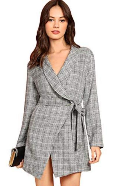 MAKEMECHIC Plaid Wrap Blazer Dress