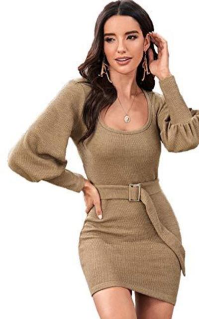 ROMWE Bishop Sleeve Scoop Neck Belted Sweater Dress