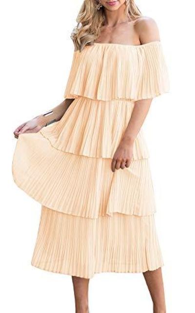 ETCYY Off The Shoulder Ruffles Maxi Dress